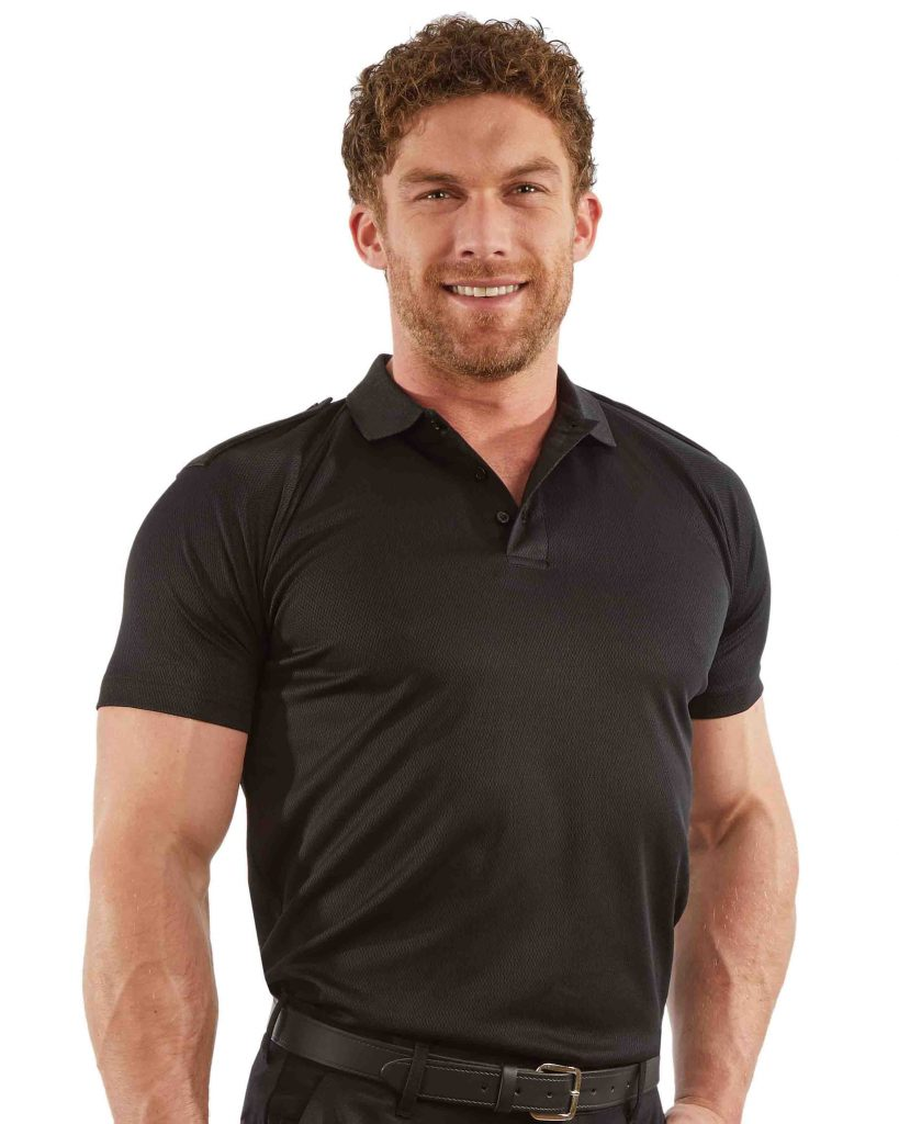 mens wicking polo shirt with fixed epaulettes