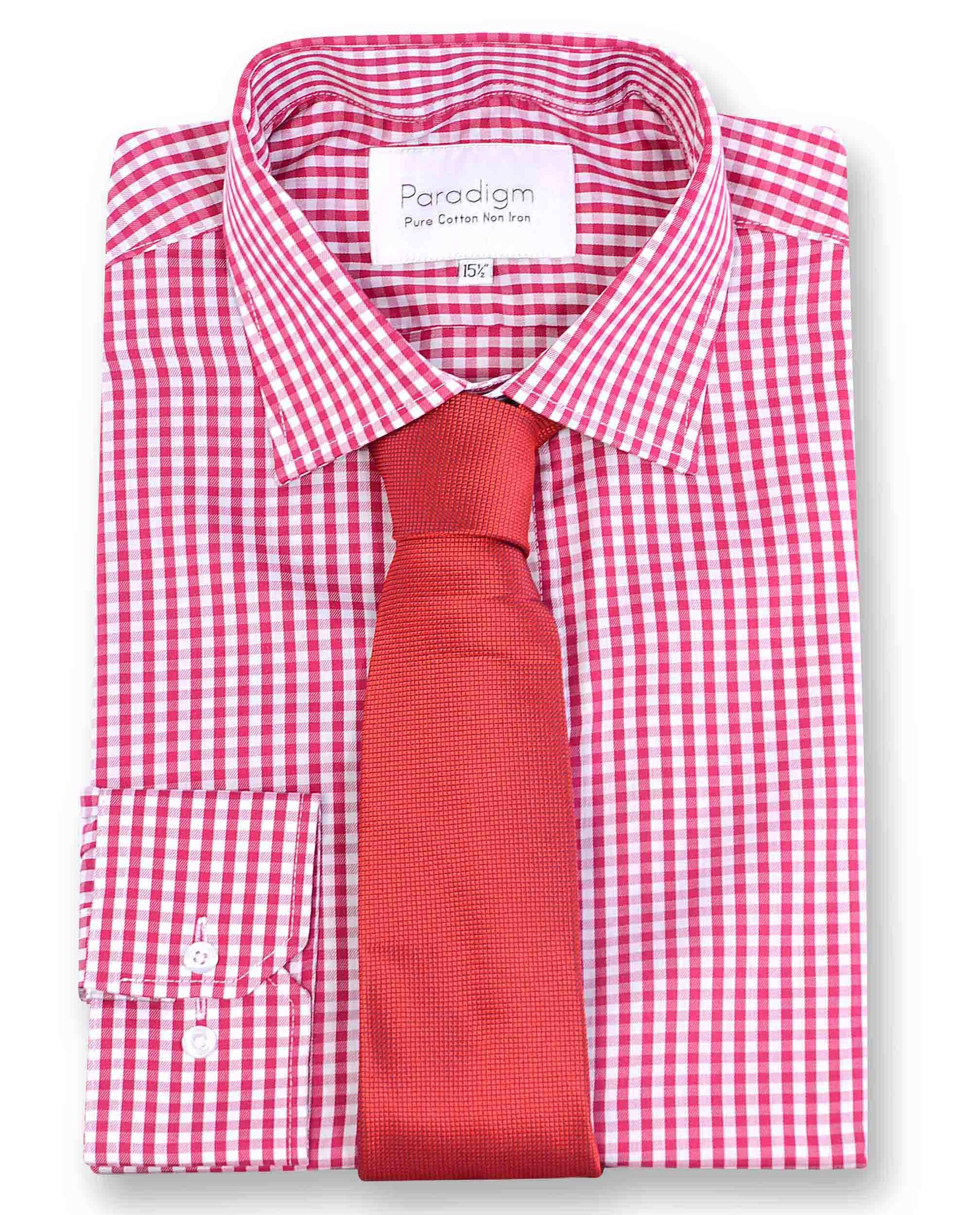Men's Double TWO Paradigm 100% Cotton Non-Iron Check Shirt