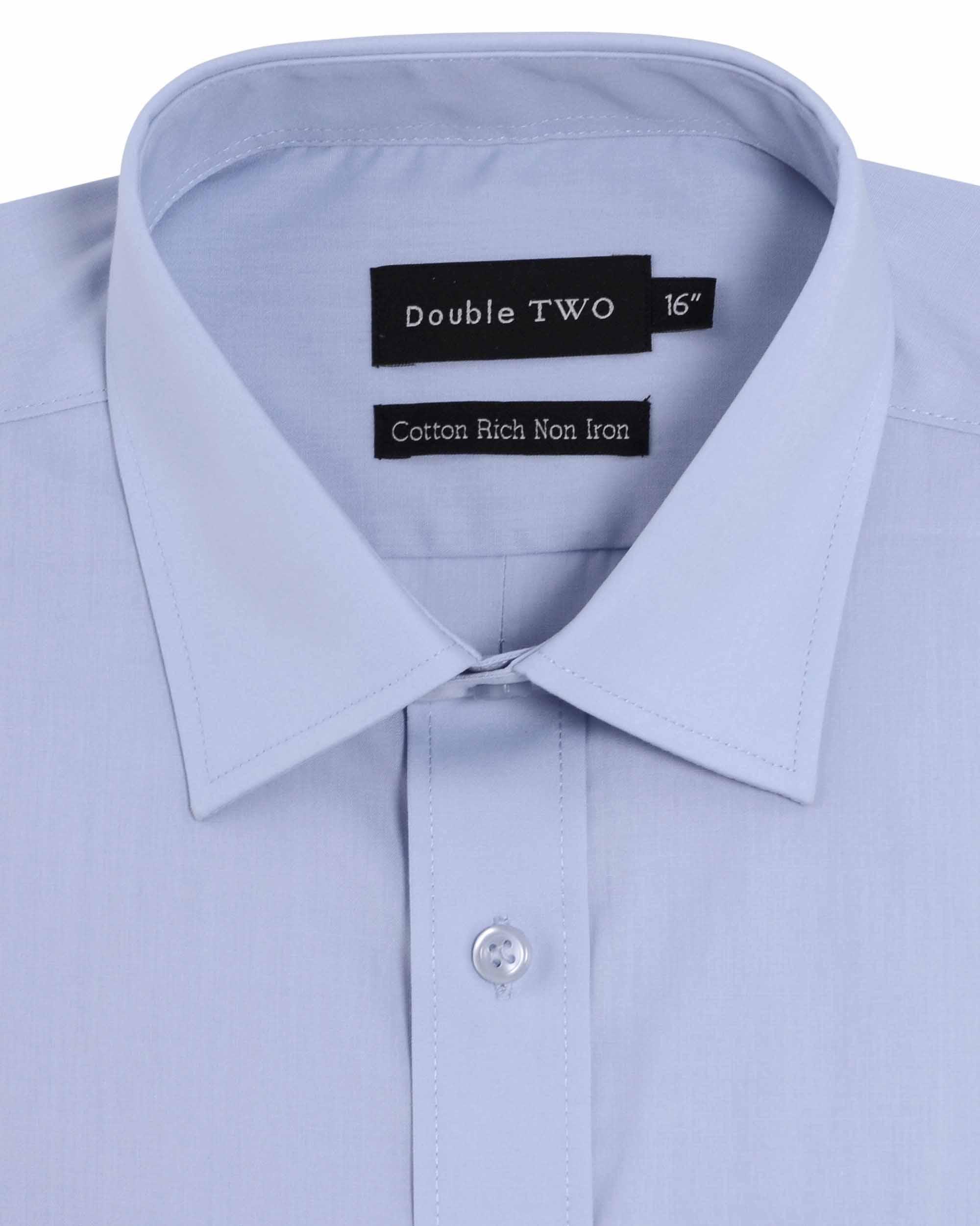 Men's Double TWO Long Sleeve Single Cuff Poplin Shirt