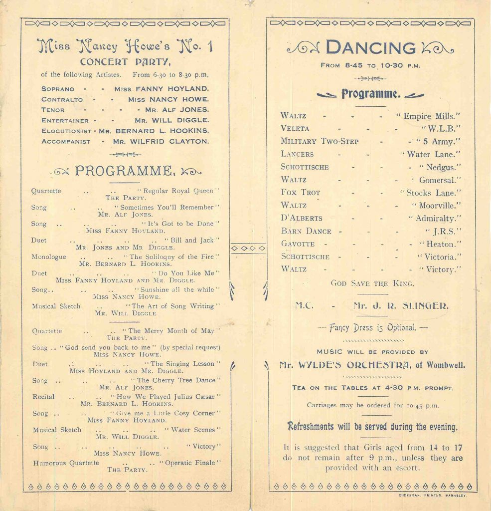 Sugdens Archive 1919 Tea, Concert and Victory Dance Leaflet