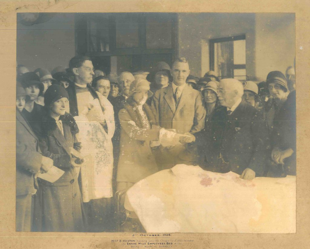 Cheque Presentation to Becketts Hospital Barnsley 1928 | Sugdens Archive