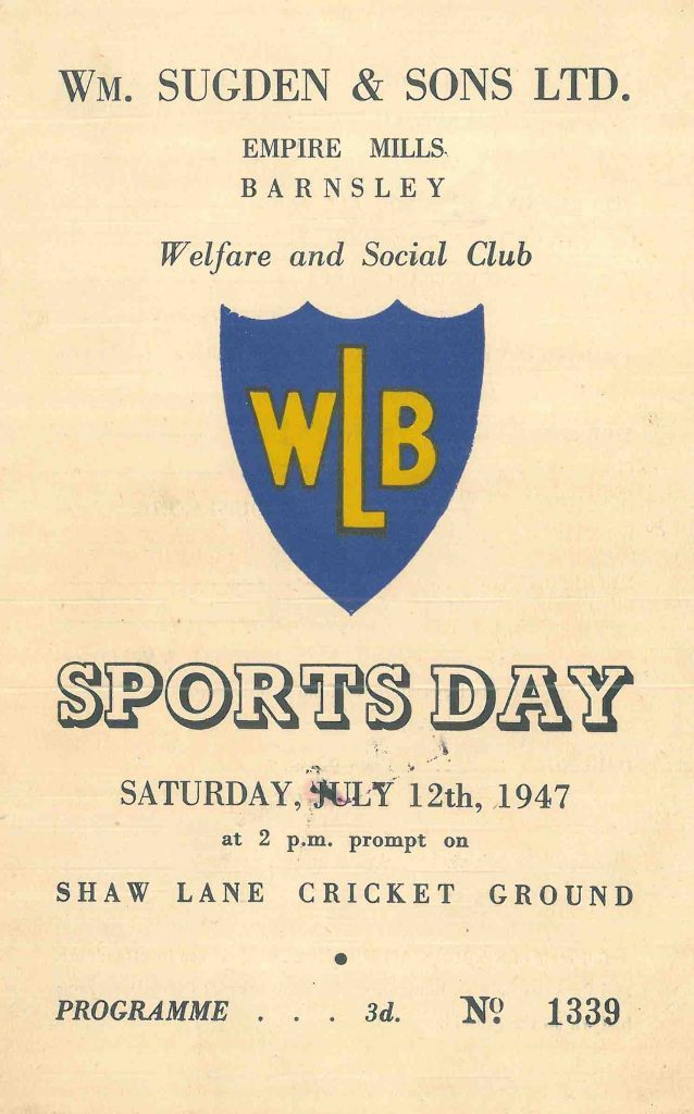 Sugdens Archive | Welfare Club Sports Day 1947 Programme Cover