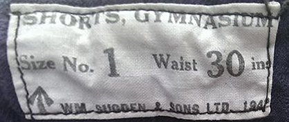Sugdens Archive | Label inside Army issue Shorts 1942