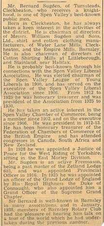 Knighthood for Bernard Sugden | Sugdens Archive
